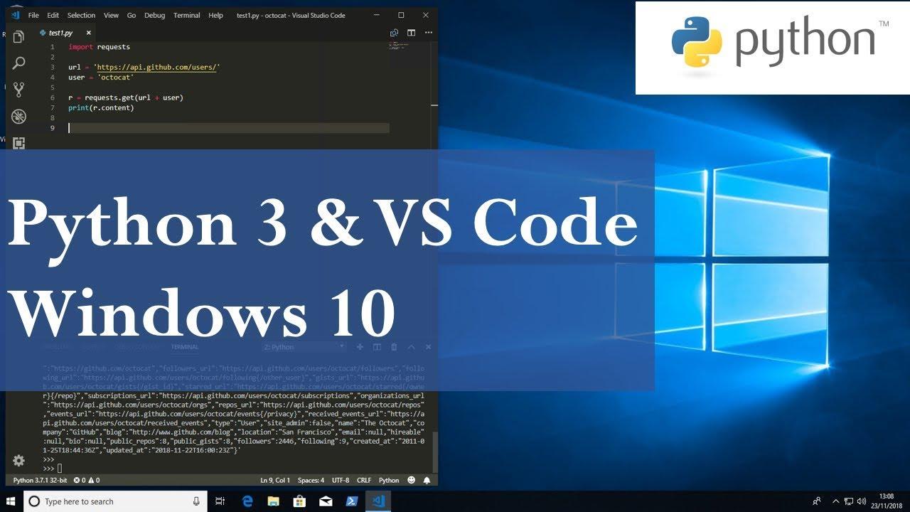 Python 3 and Visual Studio Code Install on Windows 10