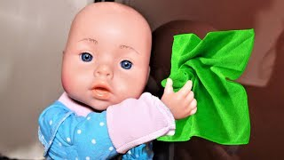 Baby Born Doll Helps Mommy! Kids Pretend Play with cleaning Toys!