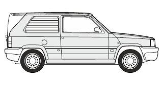 How to Draw a Fiat Panda Van / Как нарисовать Fiat Panda Van