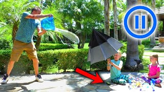 Pause Challenge in Real Life!!! Pranking Our Dad Shrinking Anything He Touches!