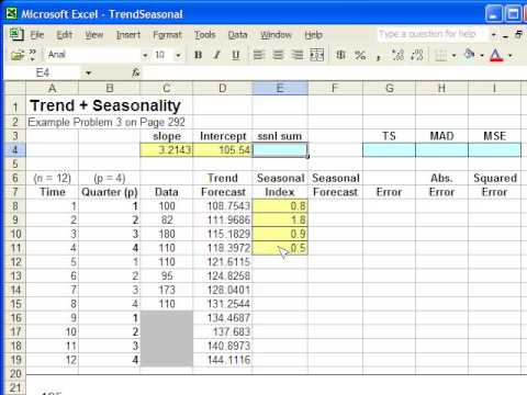 how to use trend formula in excel