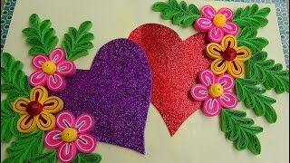 Paper Quilling | How to make Beautiful Quilling HeartLove design Greeting Card