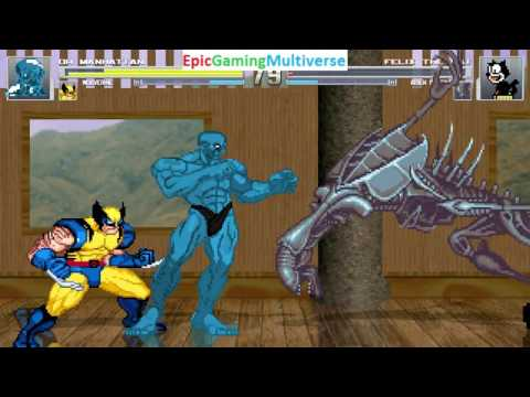Wolverine And Doctor Manhattan VS Felix The Cat And Alien Queen In A MUGEN Match / Battle / Fight