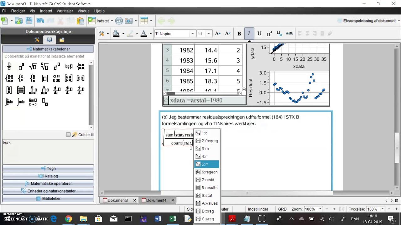 TINspire: regressionsopgave del 3 - beregn residualspredning og vurder model