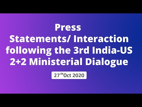 Press Statements/Interaction following the 3rd India-US 2+2 Ministerial Dialogue