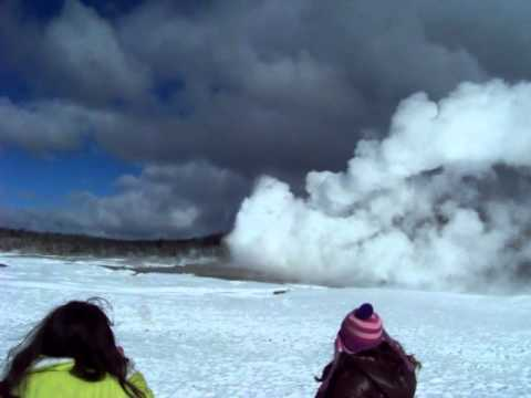 Old Faithful erupts in winter