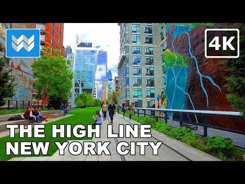 Walking tour of The High Line in Manhattan, New York City - 4K