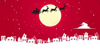 Free Background Video Loop: Santa Claus Flying Over City