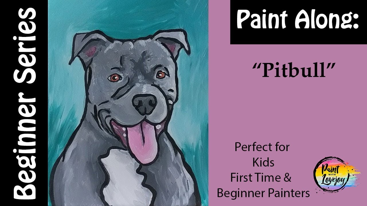 EASY) How to paint a Pitbull - step by step acrylic painting for ...