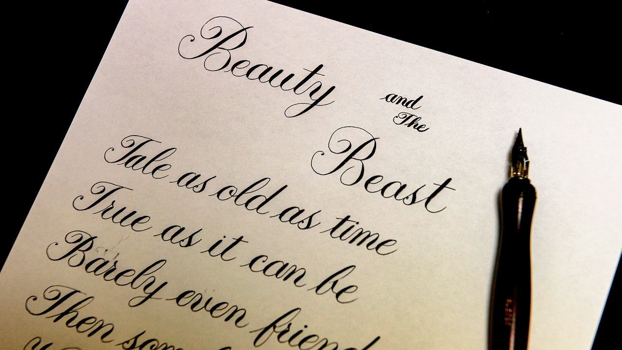 Beauty And The Beast Lyrics Calligraphy Youtube