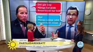 Första partiledardebatten i riksdagen för nya M-ledaren Ulf Kristersson - Nyhetsmorgon (TV4)