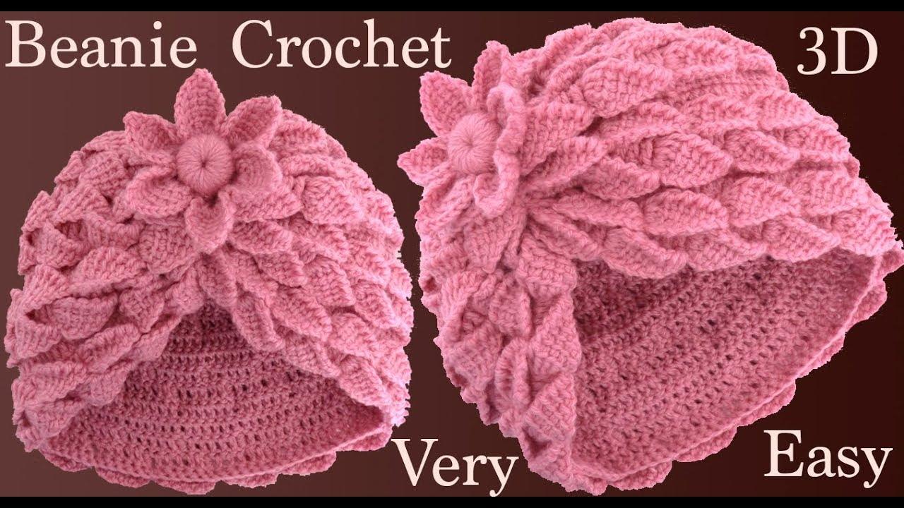 Gorro A Crochet Con Trenzas De Hojas Y Flor 3d En Punto Tunecino