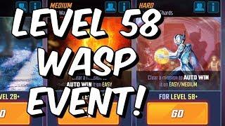 Level 58 Wasp Event Playthrough Part 1 - Unlocking Wasp Journey - Marvel Strike Force