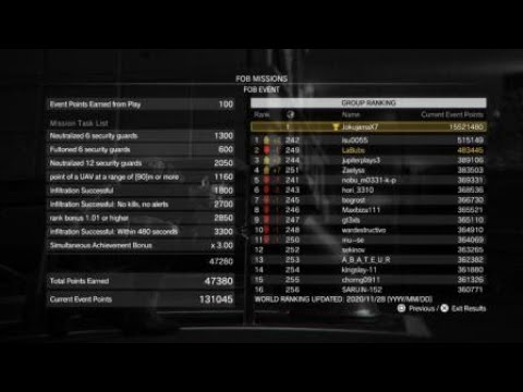 METAL GEAR SOLID V: Bound Dragons [HARD] FOB Event All Tasks Support Plat (In MGS3 EVA Jumpsuit) |