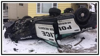 Police Roll-Over Crash On Icy Road (Newburgh Heights PD)   Dash Cam   United States   20190331