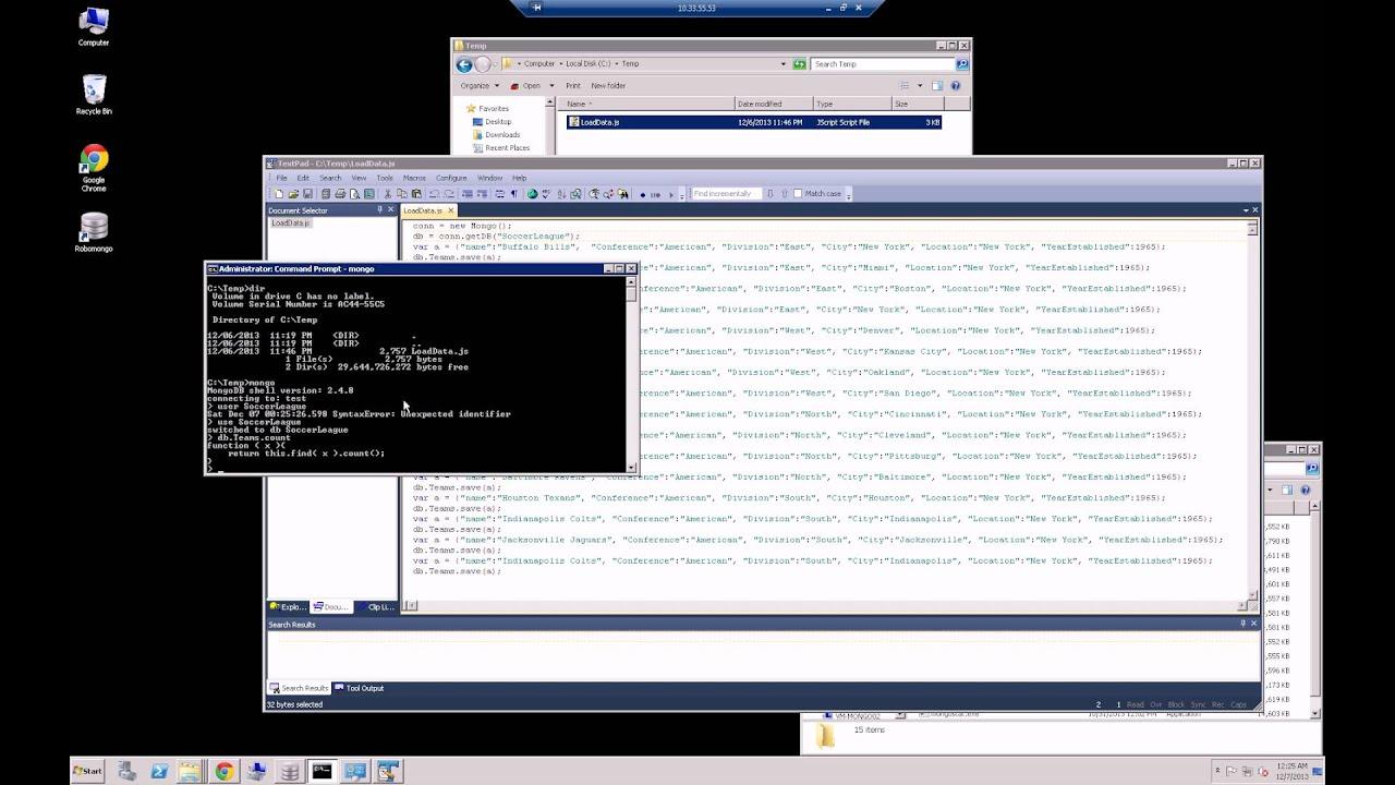 MongoDB - Running a JavaScript Script in MongoDB Shell