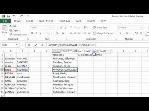 Funcion de texto Concatenar - Excel 2013/2010/2007