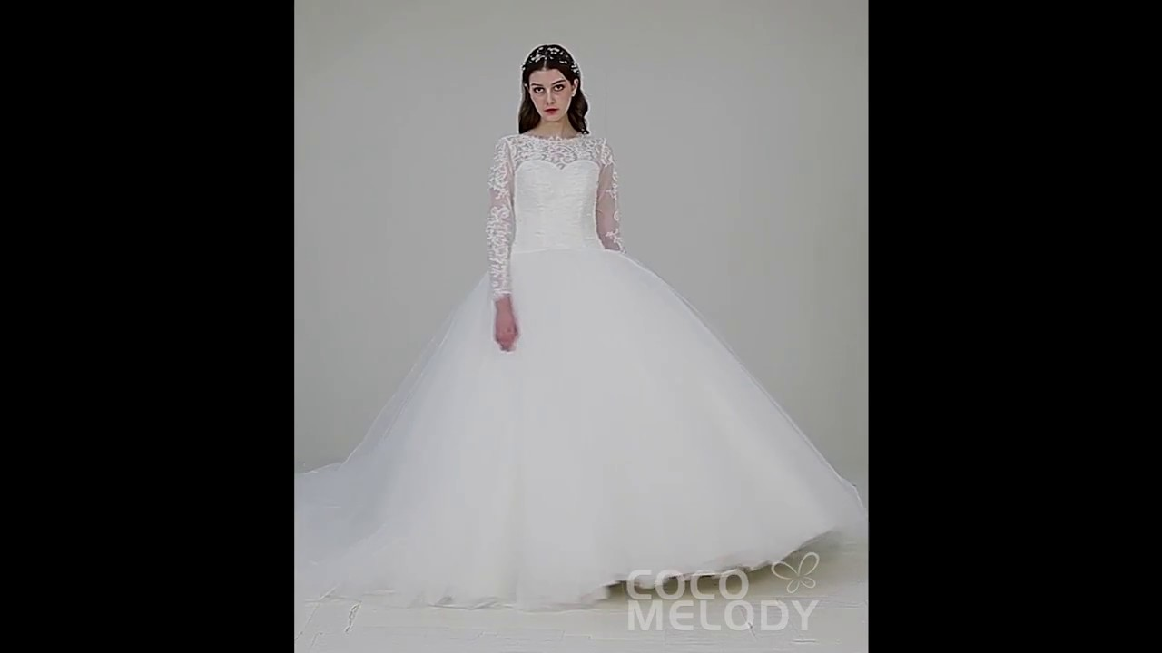 Latest Illusion Lace Long Sleeve Ball Gown Wedding Dress LD4457 ...