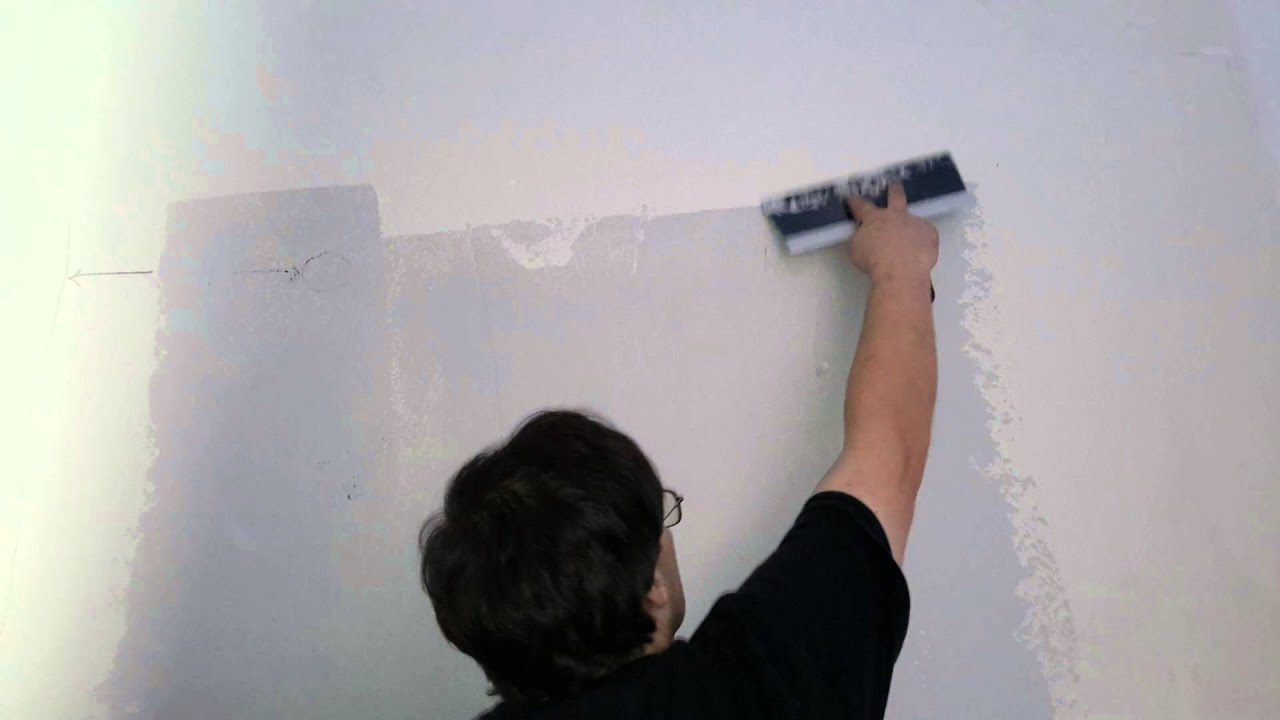 Diy how to remove wall texture orange peel first coat - YouTube
