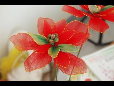 How to Make Nylon Stocking Flower - Poinsettia for Holiday Decoration