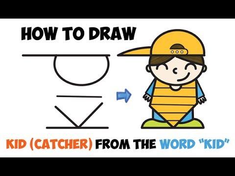 How To Draw A Cartoon Kid Boy Baseball Catcher Word Cartoon Toon