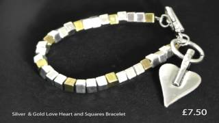 Silver and Gold Love Heart and Squares Bracelet Thumbnail