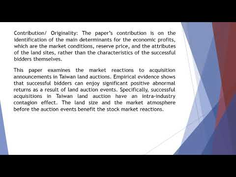 Identifying Stock Market Reactions to Acquisition Announcements in Taiwan Land Auction  AEFR 58 1014