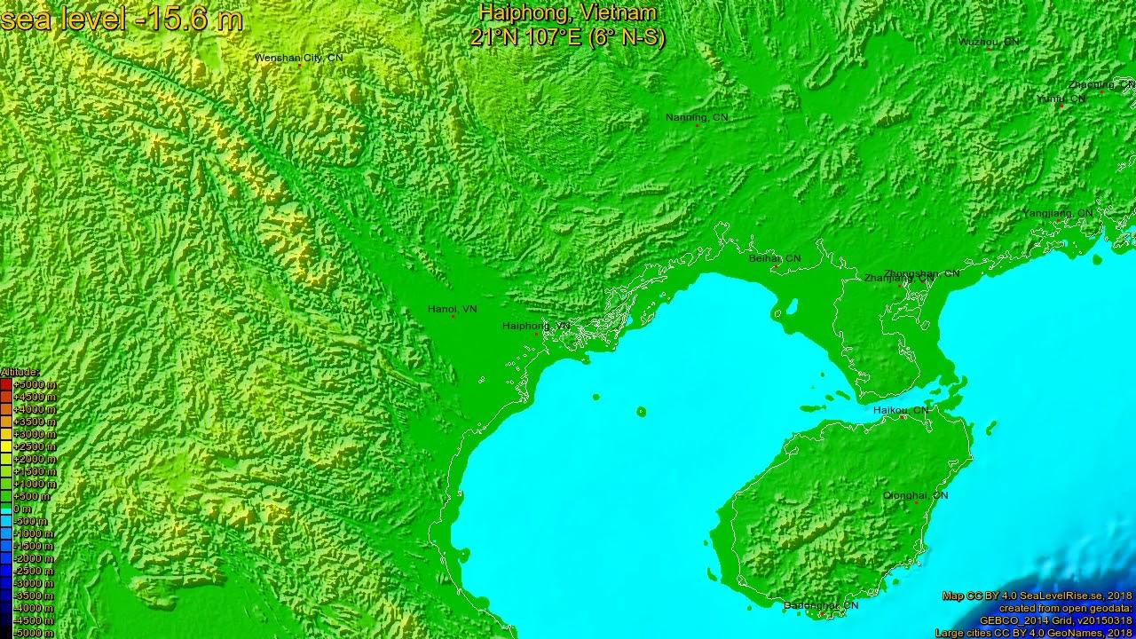Haiphong Vietnam Map.Haiphong Vietnam Z C Sea Level Rise 135 65 M Youtube