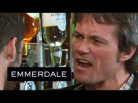 Emmerdale - Aaron Smashes A Bottle Over James's Head