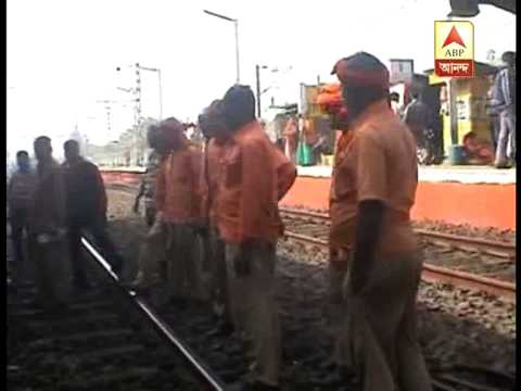 Crack at train line:this happened at Halisahar