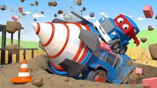 الشاحنة الخارقة  الحفارة العملاقة مدينة السيارات - رسوم متحركة للأطفال 🚓 🚒