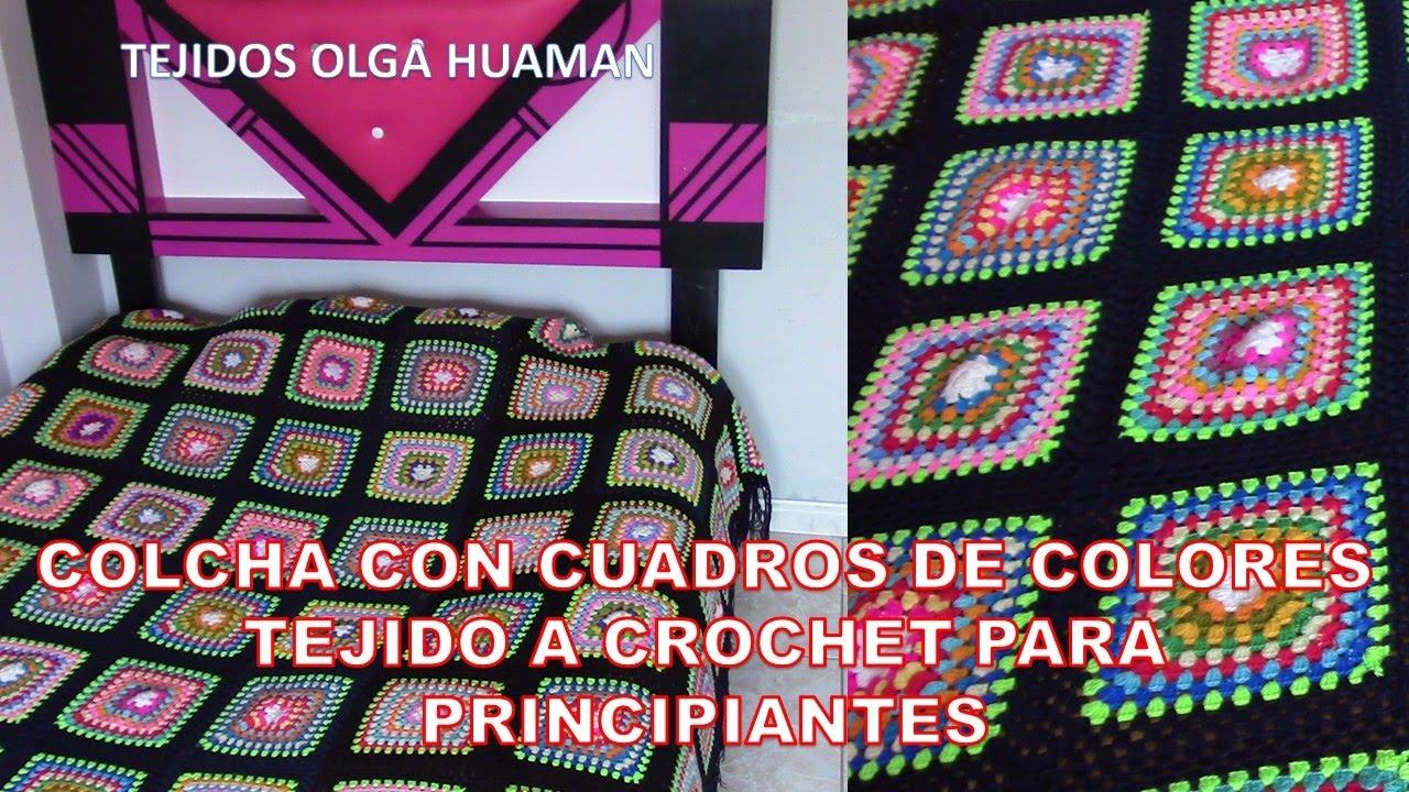 Colcha con cuadros de colores tejido a crochet para principiantes ...
