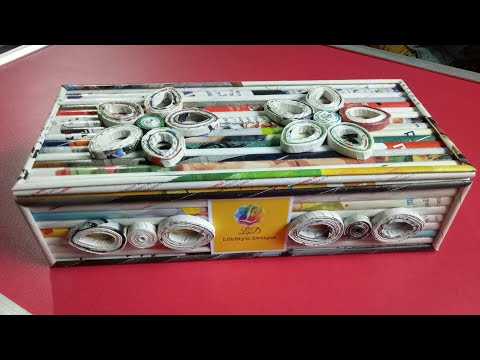 How To Make A Jewellery Gift Box/Cosmetic Organizer with Magazine newspaper   (Newspaper Crafts)