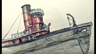 Sketch Video #16: Sketching Hercules at Hyde St Pier