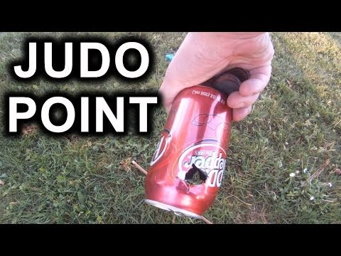 50# RECURVE + JUDO POINT  vs.  POP CAN on a stick (GoPro test footage of Judo Point in action)