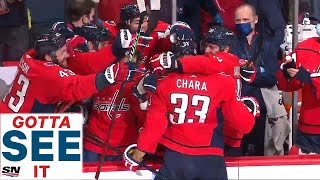GOTTA SEE IT: Bench Goes Wild After Zdeno Chara Scores First Goal With Capitals