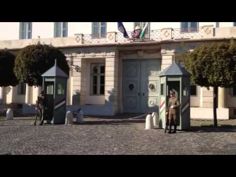 Gate guards at Hungary's president's office in Budapest