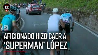 Superman López perdió tiempo tras caída provocada por aficionado | El Espectador