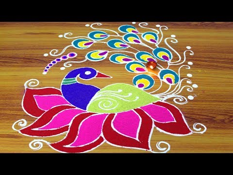 Peacock colors jhoti chita designs | Simple and Colorful Rangoli Designs | Rangoli Latest Designs