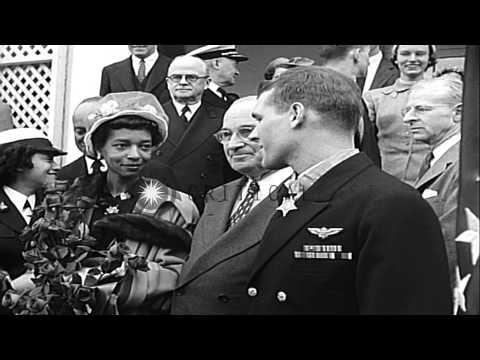 President Harry S Truman presents Medal of Honor to Lieutenant Thomas J Hudner Jr...HD Stock Footage