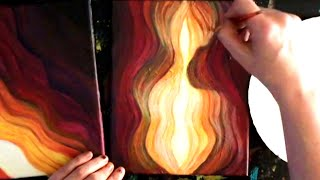 STEP by STEP Acrylic Painting Instruction Time-lapse - Red Canyon, Gold-leaf Guitar