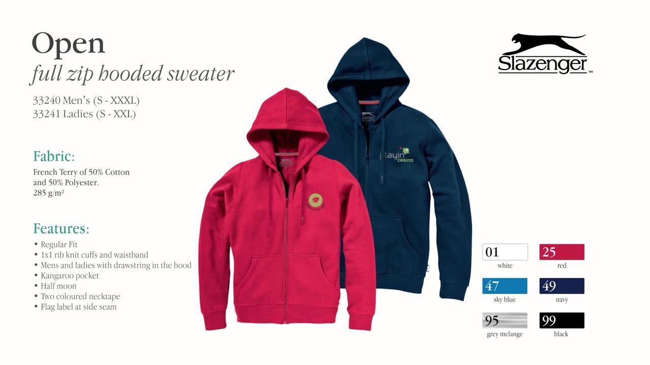Open full zip hooded sweater | 33240 33241