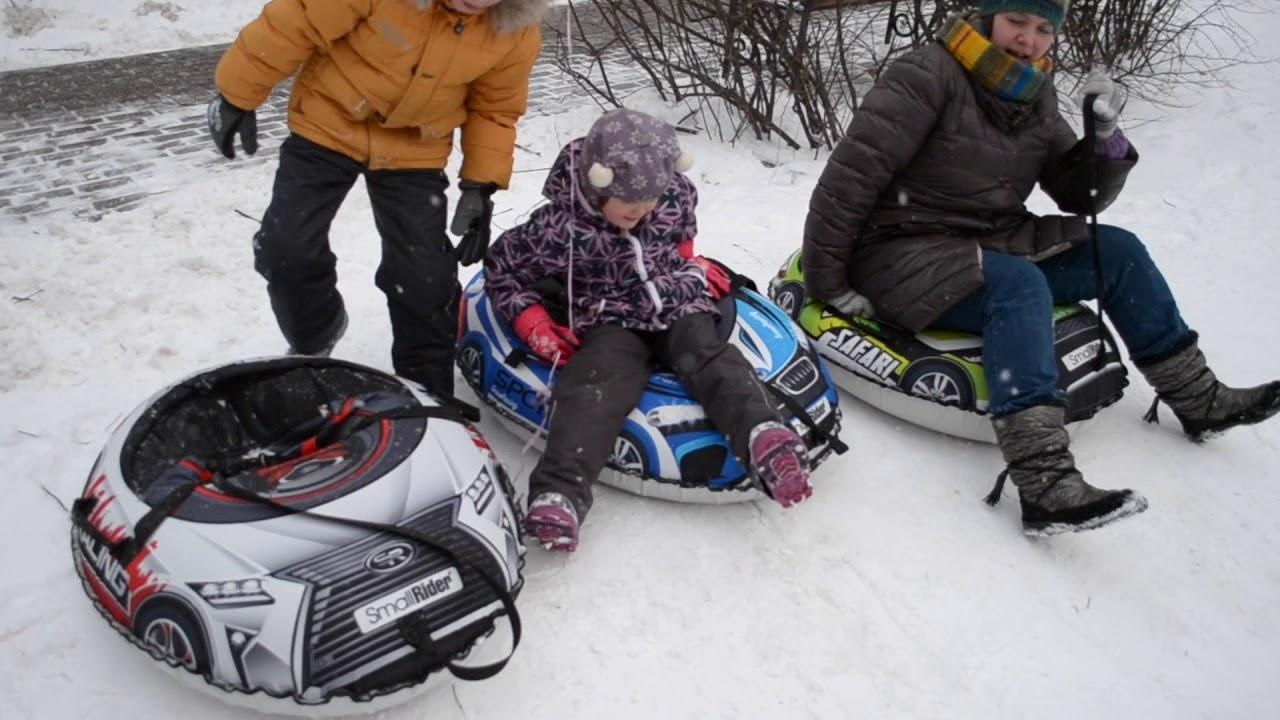Надувные санки-тюбинг с сиденьем и ремнями Small Rider Snow Cars 3