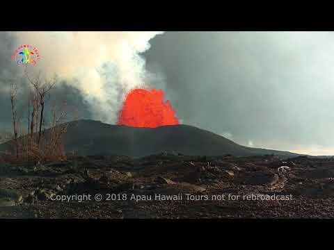 Kilauea eruption in Leilani Estates fissure #8 from Luana 6 AM June 8, 2018