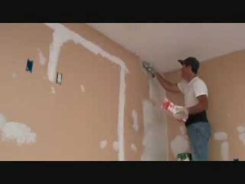 How to skim coat over existing spray textured drywall YouTube