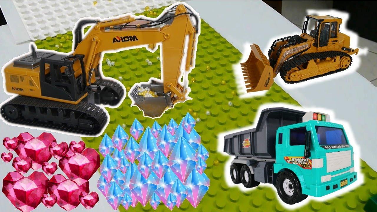電動挖土機怪手挖礦遊戲 利用積木搭建軌道Excavator&Dump truck remote control Building Blocks【 love TV小寶愛你笑】