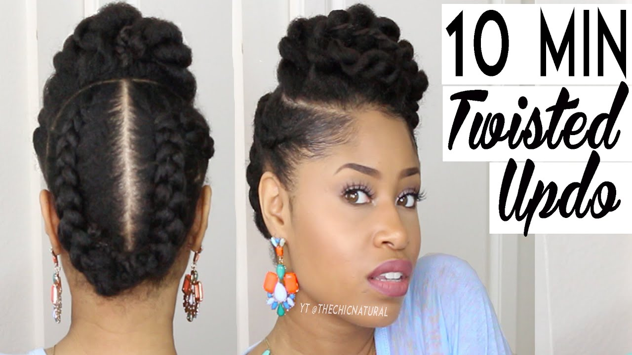 minute twisted updo natural