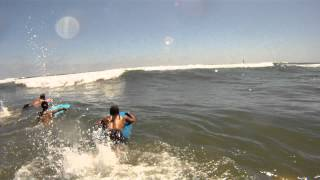 Brabaek Family Boogie boarding in Oceanside,California.