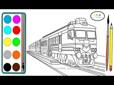 Gambar Kereta Api Untuk Mewarnai Kereta Api 2 Cara Menggambar Dan Mewarnai Kereta Api Merah Youtube