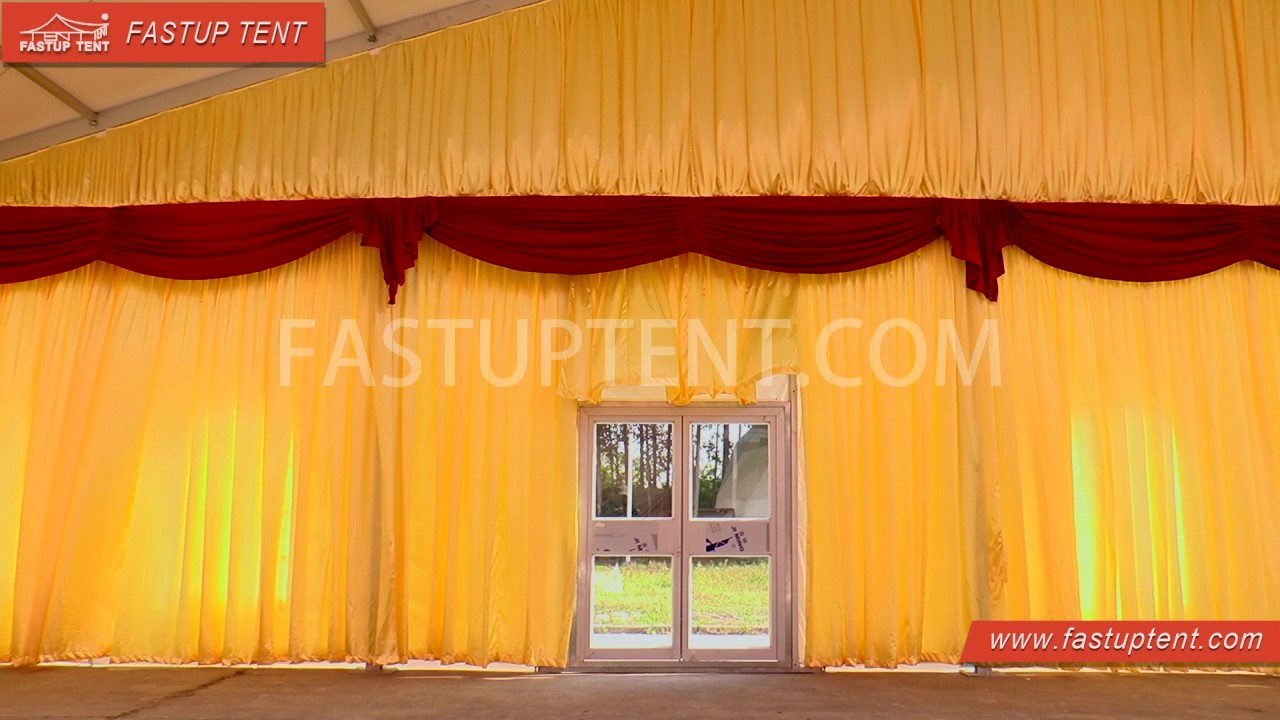 How to install lining and curtain drape for marquee tent for Indoor marquee decoration